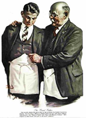 Masón en grado de compañero explicando a un aprendiz masón cómo llevar el mandil en su grado