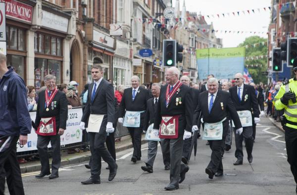 Desfile masónico en Gran Bretaña