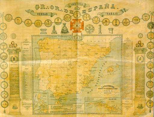 Antiguo mapa de logias del Gran Oriente de España